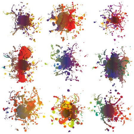 Colorful paint splashes on white  plus