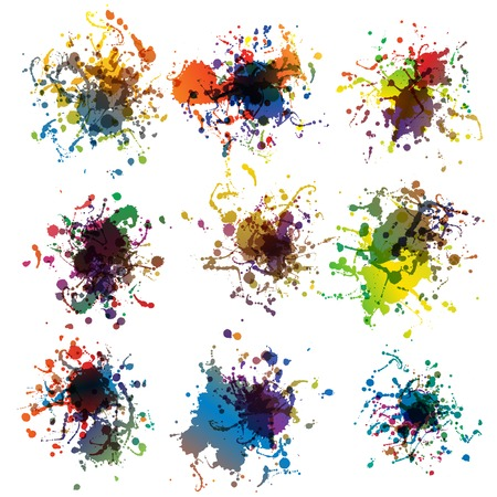 Colorful paint splashes on white  plus  Vector