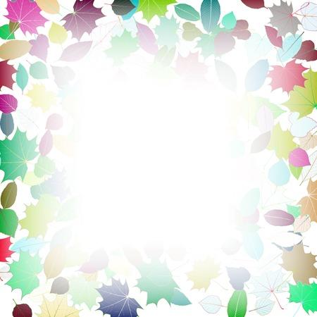 leaves frame: Multicolor Hojas de oto�o marco de plantilla Vectores