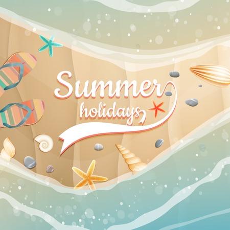 Summer holidays template  plus  Illustration