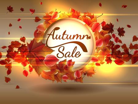 dark brown background: Autumn Sale background with copyspace  plus  Illustration