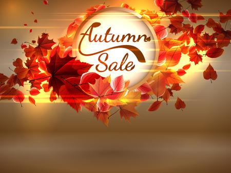 Autumn Sale background with copyspace  plus