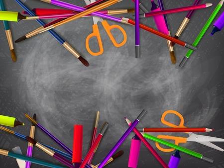 School supplies on blackboard background. plus EPS10 vector file Illustration