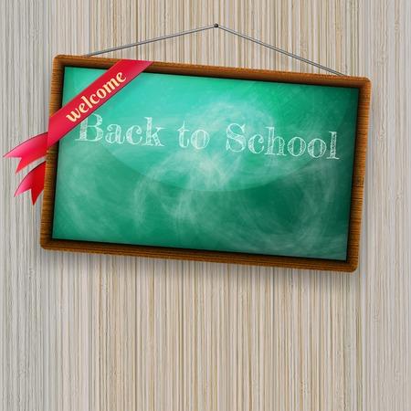 Back to school, written on blackboard with chalk. plus EPS10 vector file