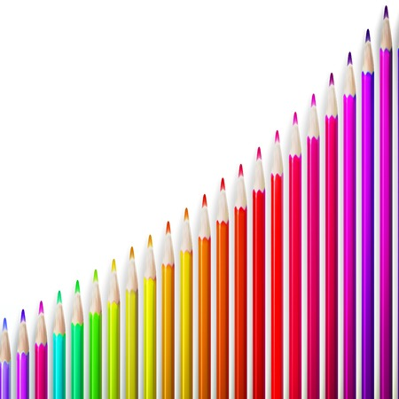 pensils: Multicolored pensils growing row isolated on white background. plus EPS10 vector file Illustration