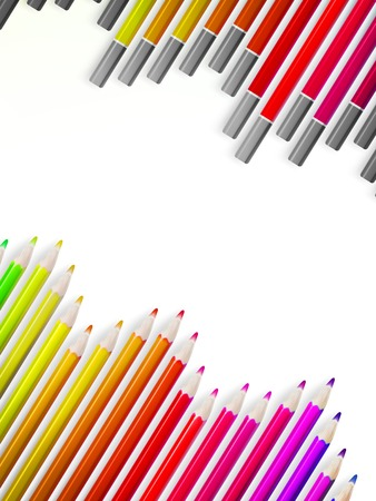 pensil: Back to school border of multicolored pencils isolated on white background.