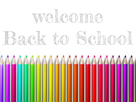 schoolwork: Colorful pencil crayons on a white background, Back to school. Illustration