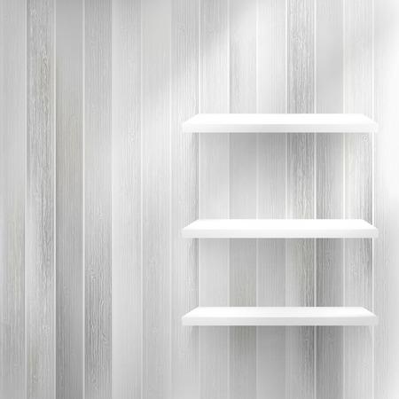 Layers Blank light wooden shelf.   EPS10 Illustration
