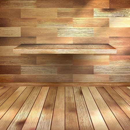 Shelf on wooden wall in vintage room. EPS 10