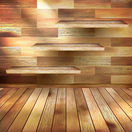 Empty wood shelf on wooden wall. EPS 10