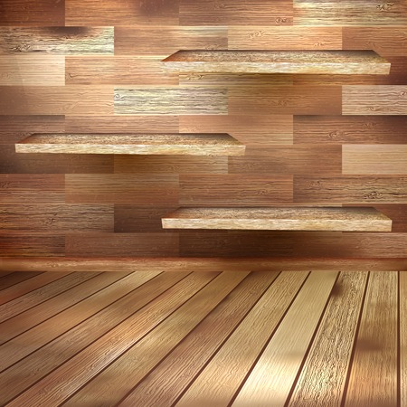 Old wooden room template. EPS 10