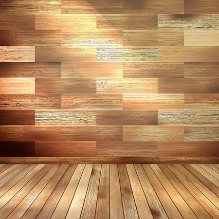 Oude houten interieur kamer. EPS 10 Stock Illustratie
