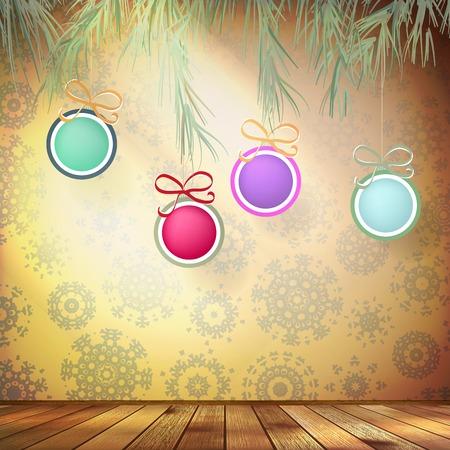 De spar van Kerstmis met decoratie. EPS 10