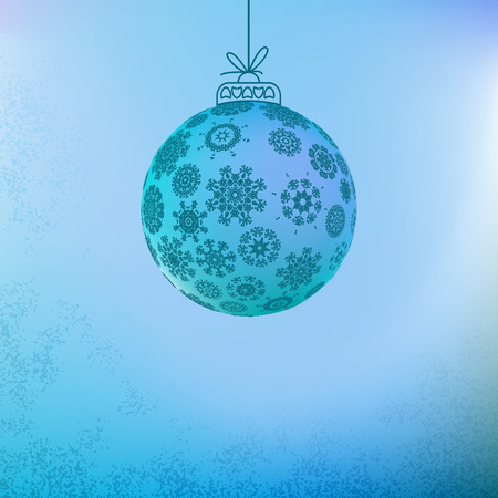 Christmas background with blue ball.    EPS8