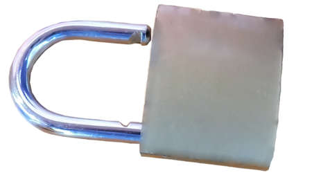 closeup view of a lock isolated on white background