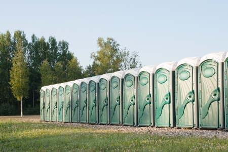Many portable toilets  Banque d'images