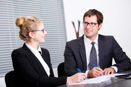Process of signing new business contract photo