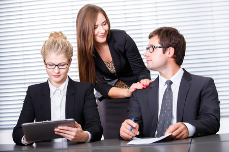 Woman influencing contract sign photo