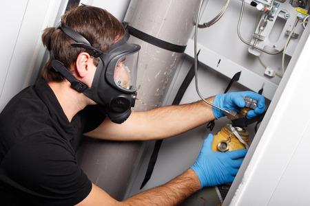fluorine: Man working with fluorine gas balloon
