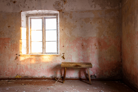 abandoned room: Dirty room in abandoned home