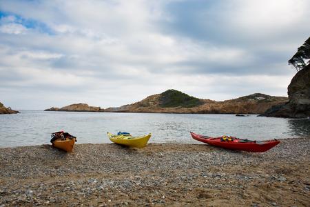 sa: Kayaks in Sa Tuna beach in Begur, Costa Brava, Spain