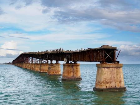 Bahia Honda Rail Bridge. Old railroad bridge in the lower Florida Keys Stock Photo