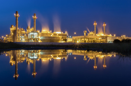 Gas turbine electrical power plant at dusk with twilight Editorial