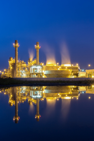 Refinery plant of a petrochemical industry at night Stock Photo