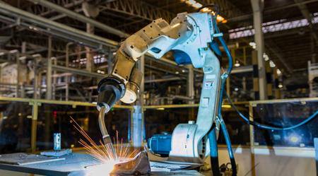 Robot test run welding program Stock Photo