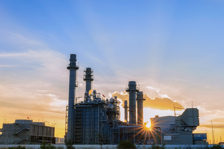combined: natural gas turbine electric power plant in the morning