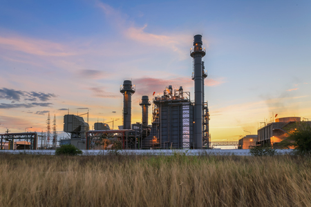 Gas turbine electrical power plant at dusk with twilight support all factory