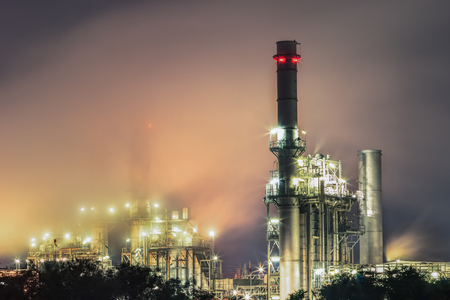 Gas turbine electrical power plant at dusk with twilight Stock Photo