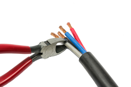 Electric cable and wire cutter with white background