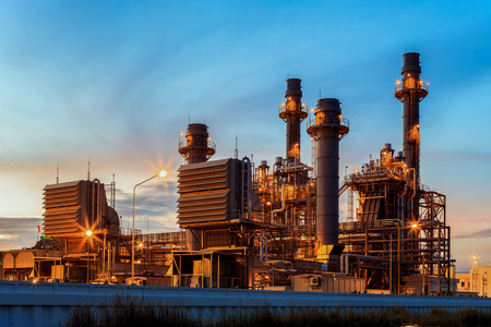Gas turbine electric power plant in the morning Editorial