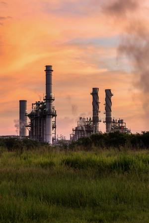 Gas turbine electrical power plant(sunset) Stock Photo