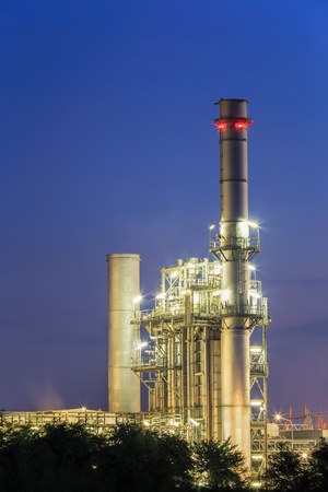 Electric power plant with blue hour. Stock Photo