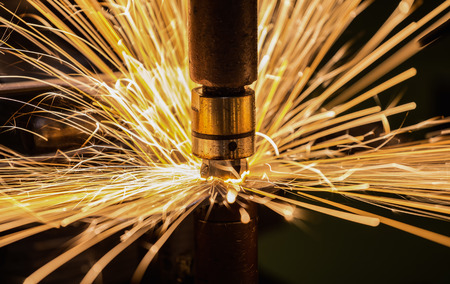 Closeup spot welding nut