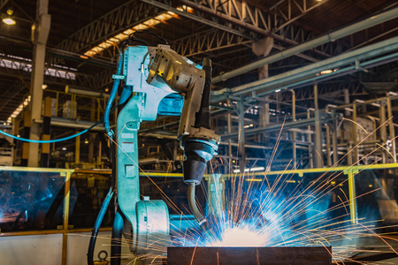 Robot welding automotive part Stock fotó