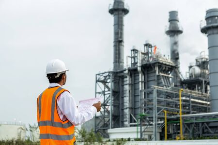 Engineer is checking plant around Gas turbine electrical power plant