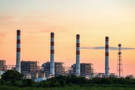 Turbine generator in power plant with blue sky