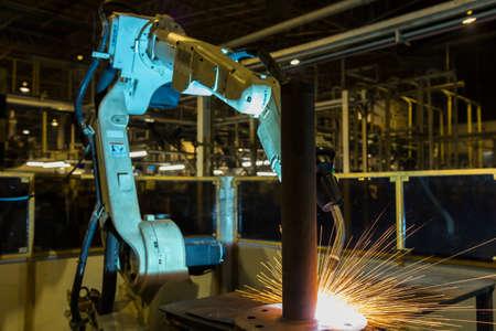 Robot welding in automotive industrial factory