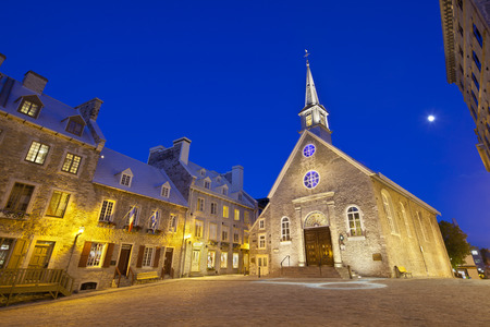 royale: Notre-Dame-des-Victoires at Place Royale in Quebec City, Canada with its old buildings