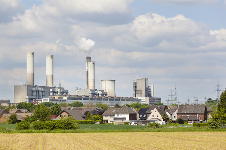 coal fired: A decommissioned lignite power station behind a village