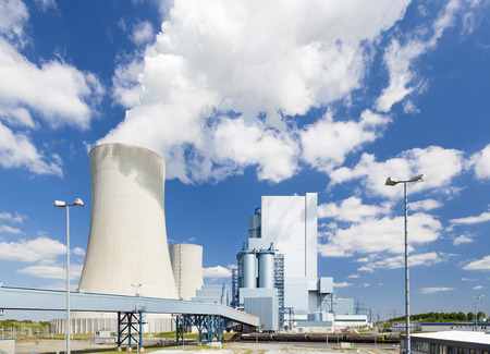coal fired: A shiny new lignite power station with beautiful blue sky and straight perspective Stock Photo