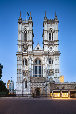 Westminster Abbey in London with blue night sky, taken with a shift lens photo