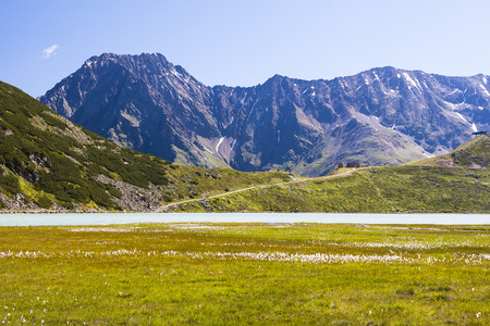 Lake Rifflsee and Sunna Alm in the Pitztal in Austria with the Wassertalkogel in the background