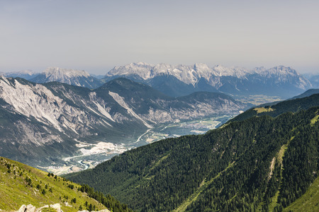 View from the Pitztal to the Inn Valley in the Austrian Alps Stock Photo