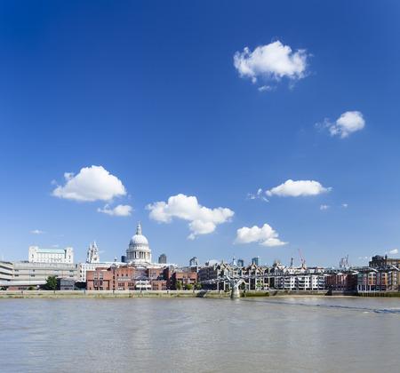 millennium bridge: Millennium Bridge in London with St. Paul Stock Photo