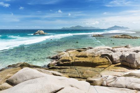 aux: The remote beach Anse Aux Cedres, La Digue, Seychelles Stock Photo