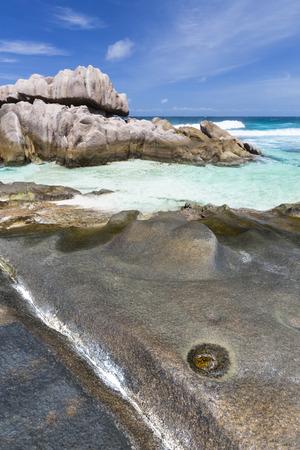 aux: Rock formations at the remote beach Anse Aux Cedres, La Digue, Seychelles Stock Photo